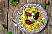 image of millet  - spiced millet porridge with beetroot coriander mint and feta - JPG