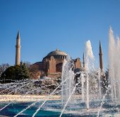 picture of constantinople  - The Beautiful Hagia Sofia and fountain  in Istanbul - JPG