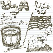 image of drum-set  - Hand drawn sketch American bald eagle drum and usa flag fourth of july set text happy independence day paper notebook background - JPG