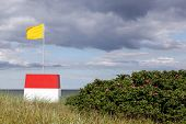image of lifeguard  - Lifeguard tower on the beach in Denmark - JPG