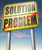 stock photo of solution  - problem solution searching solutions by solving problems sign  - JPG