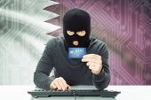 stock photo of qatar  - Cybercrime concept with flag on background  - JPG