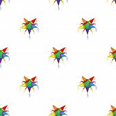 pic of pinata  - Mexican star pinata pattern on white background - JPG