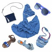 stock photo of lady boots  - Lady fashion set of summer outfit blue color isolated - JPG