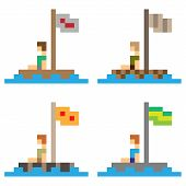 picture of raft  - illustration vector isolate icon pixel art wooden raft - JPG