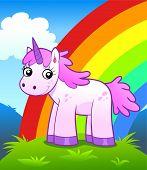 stock photo of unicorn  - Cartoon unicorn on the rainbow and nature background - JPG