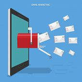 picture of mailbox  - Email marketing flat vector conceptual illustration - JPG
