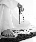 image of arab man  - Elderly Muslim Arabic man praying - JPG