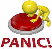 pic of panic  - A 3D business man with a problem pushes a last resort PANIC button - JPG