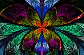 image of symmetrical  - Multicolored symmetrical fractal pattern as flower or butterfly in stained - JPG