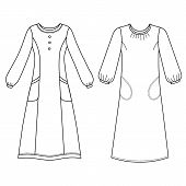 stock photo of negligee  - House dress nightdress front view vector illustration isolated on white background - JPG