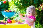 picture of bbq party  - Child grilling meat - JPG