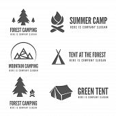 Set of modern camp badges, logo, emblem and logotype elements for camping, web, business or other pr poster