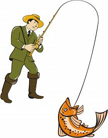 foto of fly rod  - Illustration of a fly fisherman wearing hat with fly rod and reel reeling up a trout fish set on isolated white background done in cartoon style - JPG