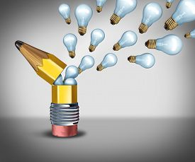 stock photo of creativity  - Open creativity idea concept as an imagination symbol for out of the box thinking as a pencil opening to release light bulb icons as creative marketing communication - JPG