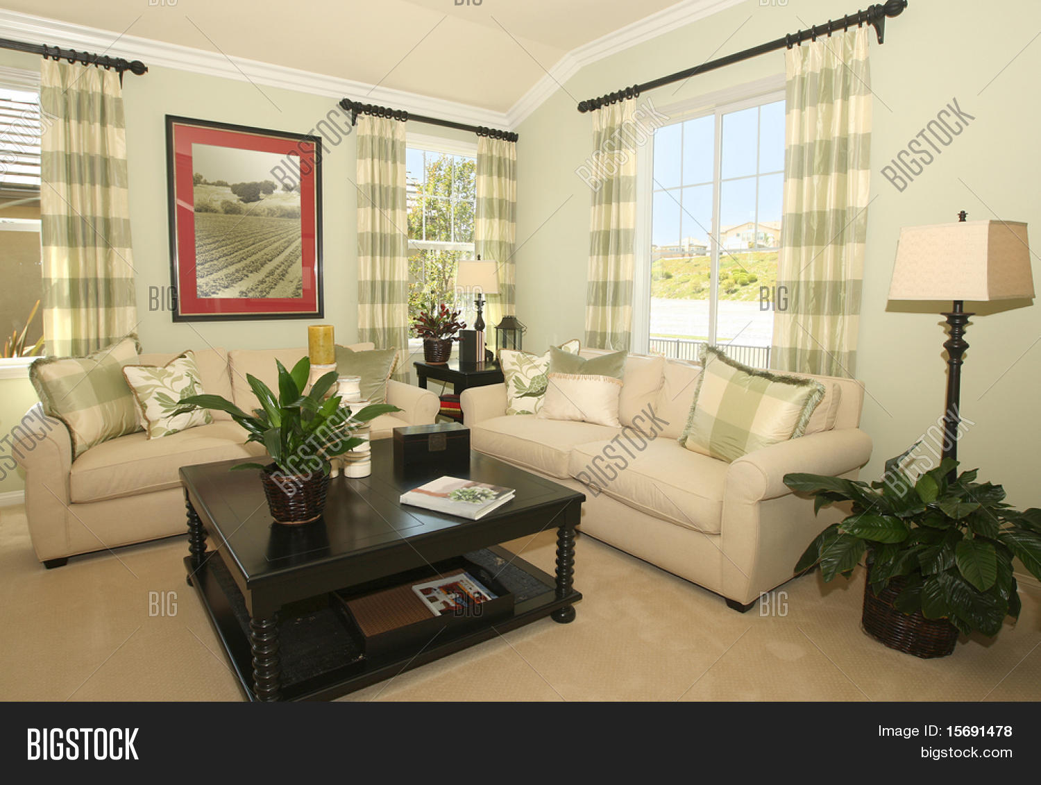 Contemporary living room in earth tones stock photo for Living room ideas earth tones
