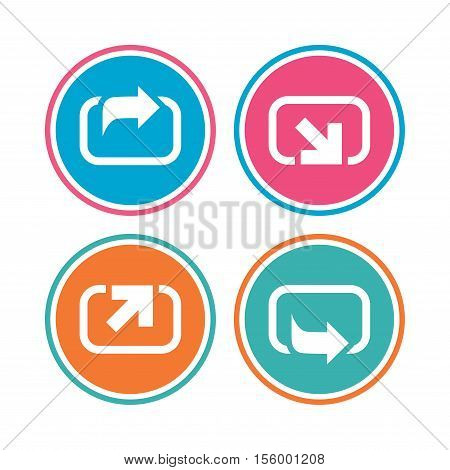 Action icons. Share symbols. Send forward arrow signs. Colored circle buttons. Vector