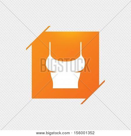 Women T-shirt sign icon. Intimates and sleeps symbol. Orange square label on pattern. Vector
