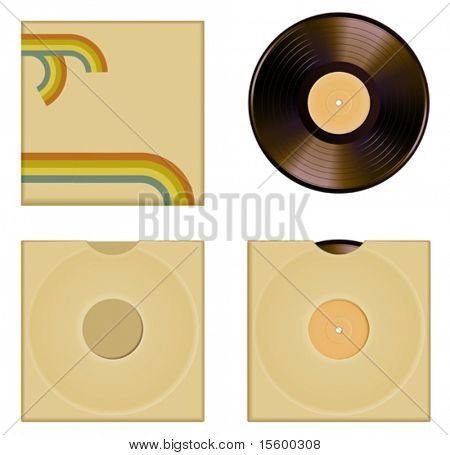 vector illustration of vinyl cover set