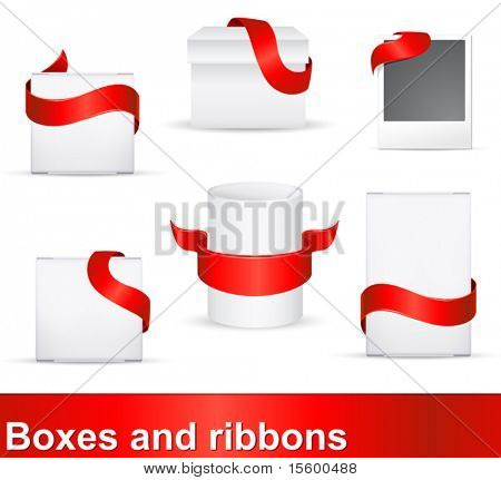 red ribbons as distinction signs on products