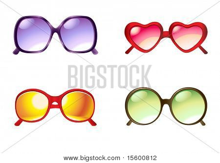 vector illustration sunglasses set