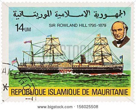 MOSCOW RUSSIA - NOVEMBER 08 2016: A stamp printed in Mauritania shows old side wheeler on the river series