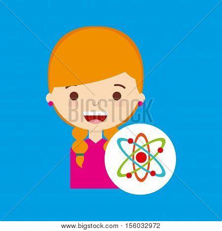 beatiful girl blonde student chemistry vector illustration eps 10