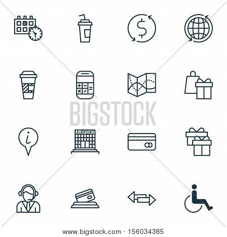 Set Of Travel Icons On Takeaway Coffee, Crossroad And Shopping Topics. Editable Vector Illustration.