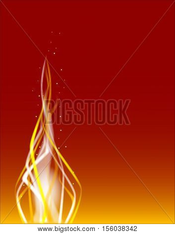 A fire dancing background with sparks over a red background