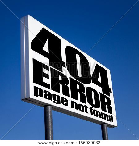 Page not found sign for missing web pages on billboard against blue sky