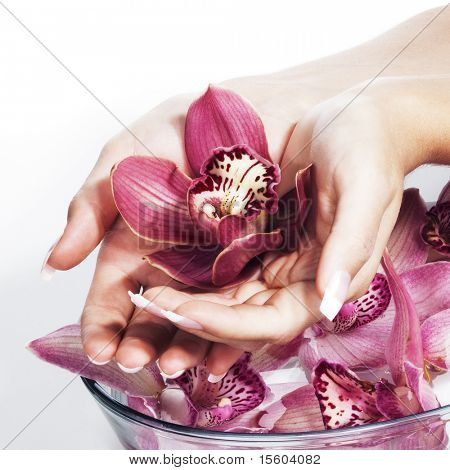 Spa and wellness details. Woman hands with orchids