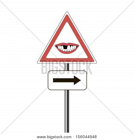 pointer dental clinic, road sign - a red triangle with a smile with a missing Central incisor tooth, the arrow is the pointer to the column vector