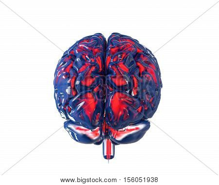 Human brain with transparency chanel isolated on white. Concept 3d render illustration