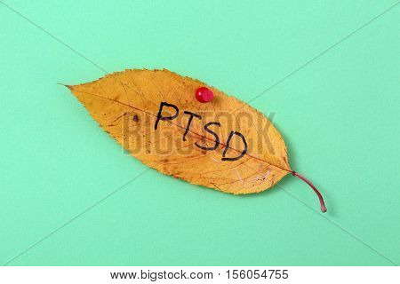 picture of a autumn walnut leaves with handwritten text ptsd