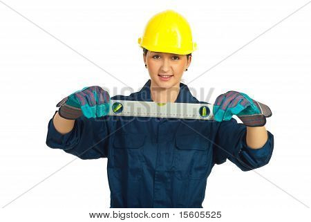 Constructor Worker Woman Holding Level