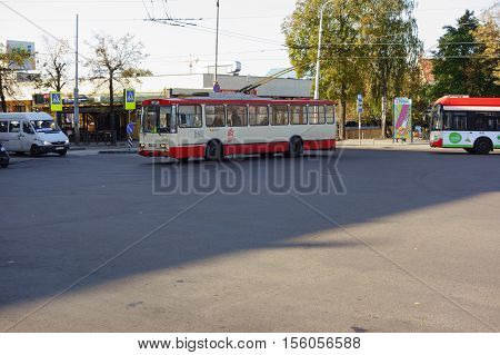 Vilnius Lithuania - October 16 2016: Vilnius is a tourist and cultural center of Lithuania. The area around the train station.