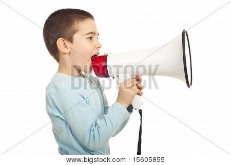 Profile Of Boy Shouting Loudpspeaker