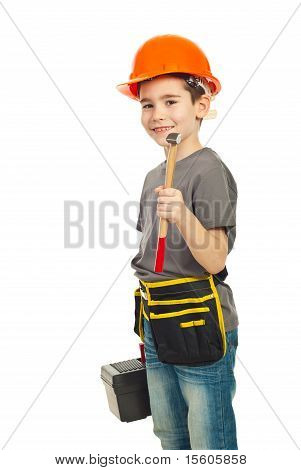 Boy Holding Hammer And Tools Box