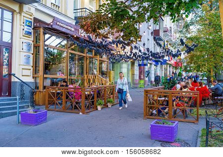 KIEV UKRAINE - SEPTEMBER 18 2016: The Caucasian cuisine is very popular in Ukraine so there are a lot of restaurants offering tasty dishes and wines from Caucasus on September 18 in Kiev.