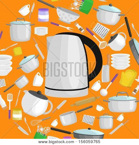 Kitchenware icons vector set. Cartoon kitchen utensil collection spoon pot food knife fork cup pan spatula ladle plate dish bowl colander whisk grater.