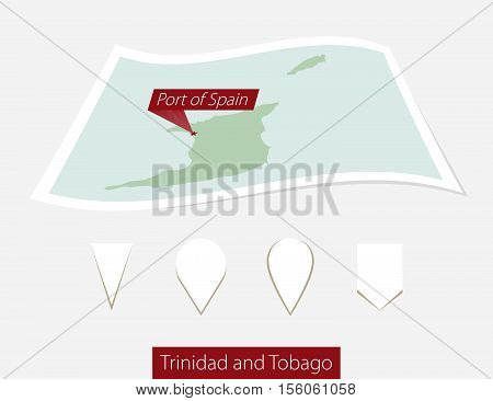 Curved Paper Map Of Trinidad And Tobago With Capital Port Of Spain On Gray Background. Four Differen