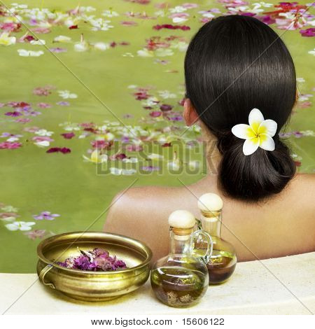 Woman getting treatment at spa centre