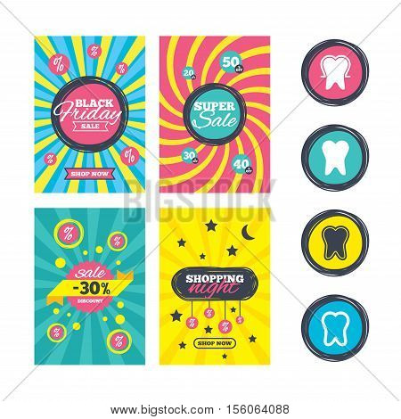 Sale website banner templates. Tooth enamel protection icons. Dental toothpaste care signs. Healthy teeth sign. Ads promotional material. Vector
