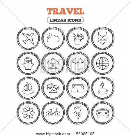 Travel icons. Ship, plane and car transport. Beach umbrella, palms and cocktail. Swimming trunks. Rose or tulip flower. Circle flat buttons with linear icons. Vector