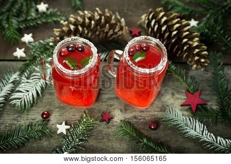 Hot winter drink from cranberry. Christmas drink. Horizontal view.