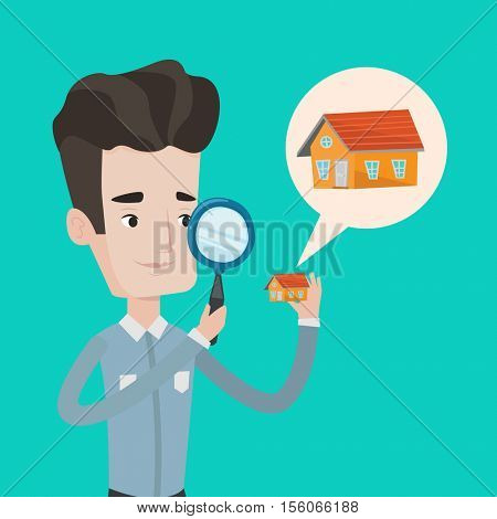 Young caucasian man looking for a new house in real estate market. Man using a magnifying glass for seeking a new house. Man analyzing house with loupe. Vector flat design illustration. Square layout.