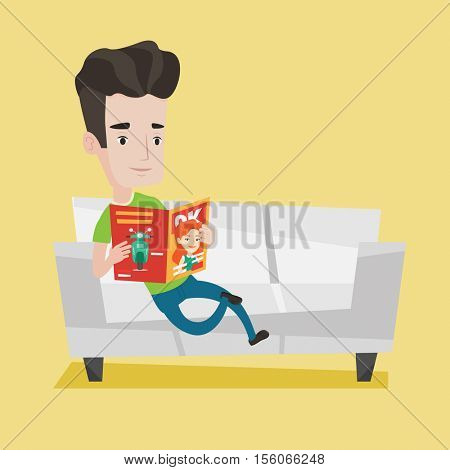 Young caucasian man reading a magazine. Relaxed man sitting on sofa and reading magazine. Young smiling man sitting on the couch with magazine in hands. Vector flat design illustration. Square layout.