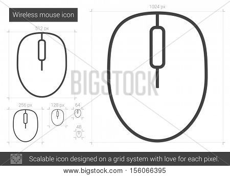 Wireless mouse vector line icon isolated on white background. Wireless mouse line icon for infographic, website or app. Scalable icon designed on a grid system.