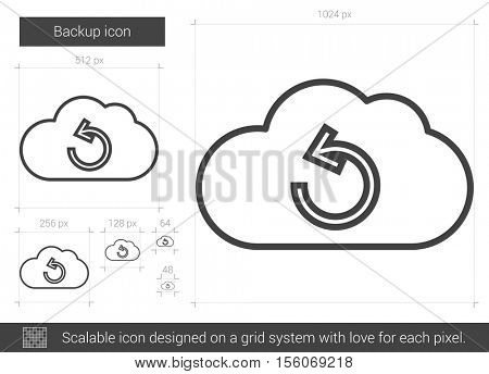 Backup vector line icon isolated on white background. Backup line icon for infographic, website or app. Scalable icon designed on a grid system.