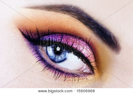 Woman beautiful eye with bright makeup
